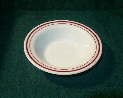 Pyrex Burgundy Band on White Milk Glass Cereal Bowl 707-27