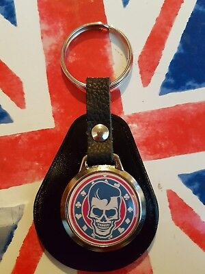 STRAY CATS ROCKER BILLY ROCK N ROLL  TOP QUALITY LEATHER /& METAL KEYRING