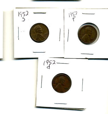 1952 P,d,s Wheat Pennies Lincoln Cents Circulated 2X2 Flips 3 Coin Pds Set#457