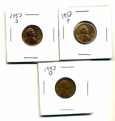 1952 P,d,s Wheat Pennies Lincoln Cents Circulated 2X2 Flips 3 Coin Pds Set#331