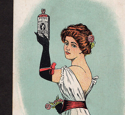 Ponds Bitters Kidney & Liver Cure Bottle Lady Victorian Advertising Trade Card