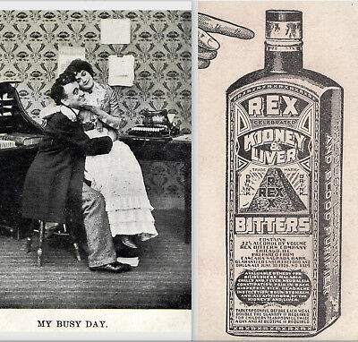 Rex Kidney Liver Bitters Cure Antique Typewriter Busy Lover Victorian Trade Card