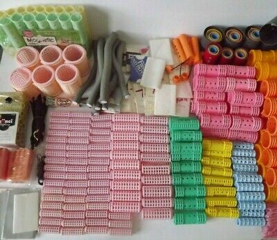 Vtg Modern Lot Hair Curlers Rollers Papers Clips Plastic Metal 350 + Piece Lot