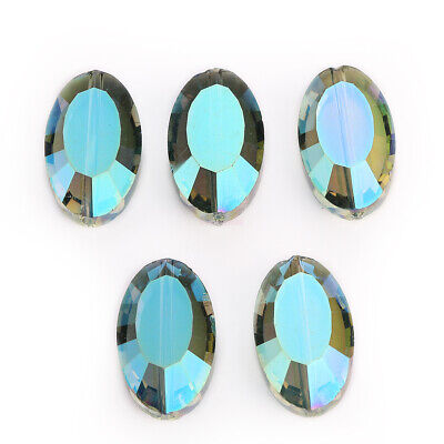 Crystal 22mm 5pc Charm Flat Oval Faceted Glass Spacer Loose Beads Jewelry Design