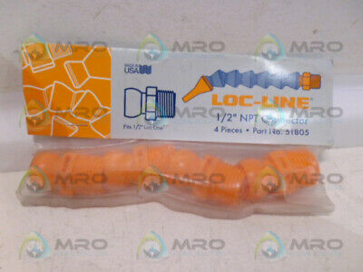 """Loc-Line 51805 Npt Connector 1/2"""" (Pk Of 4) *New In Factory Bag*"""