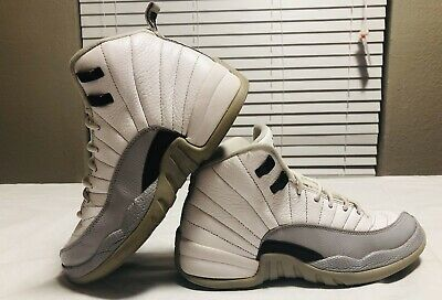 0ff3589e2188 KIDS NIKE AIR Jordan 12 Retro White Black-Wolf Grey Baron size 7 Y ...