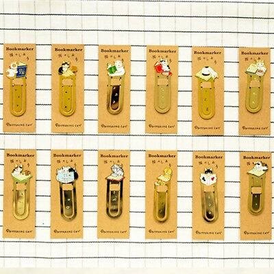 Metal Creative Cute Cat Bookmark Book Mark Magazine Note Pad Memo Label BIN