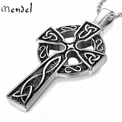 "Mens Celtic Cross Necklace Pendant 24"" Chain Stainless Steel Irish Knot Silver"