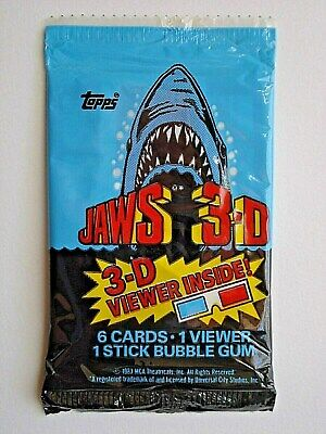 1983 Topps *jaws 3-D* Sealed Cello Pack