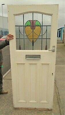 Antique Stained Leaded Glass Front Door    Delivery Available