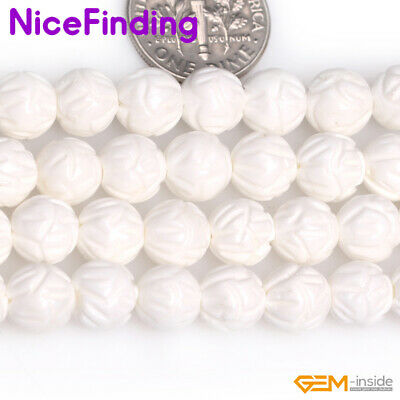 Natural Round Flower Carved Sea Shell Gemstone Loose Beads Jewelry Making 15""