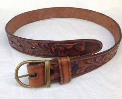 Vintage Western American Leather Belt Vintage Embossed  Cowboy Belt