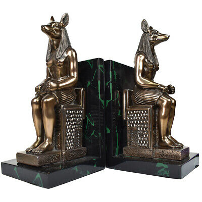 Anubis Bookends Egyptian Dog Head Person Statue Vintage Book Holder Heavy Duty