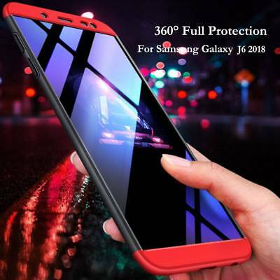 360° Full Protective Hybrid Case+Tempered Glass Cover For Samsung Galaxy J6 2018