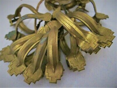 Antique French Chateau Gold Gilt Metal Curtain Clips x 12