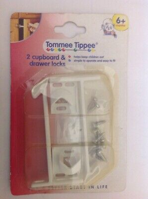 Vintage Tommee Tippee Baby Safety 2 Cupboard And Drawer Locks