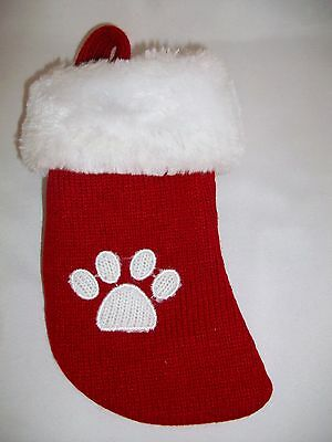 Paw Print Pet Red Knit Christmas Stocking Dog Cat Holiday