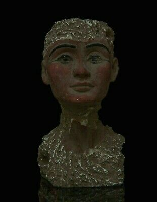 ANCIENT EGYPT EGYPTIAN ANTIQUE Queen NEFERTITI Head STATUE Carved STONE, BC