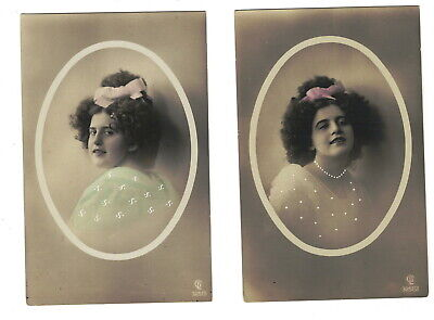 Mc2219 Set Of 2  Victorian Woman In Medailon Fluffy Hair With Bow