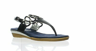 52fc408fc47 CLARKS WOMENS FLORES Raye Navy Leather Ankle Strap Heels Size 7 ...