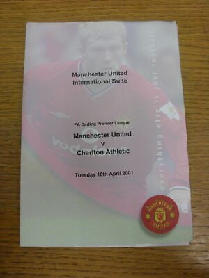 10/04/2001 Manchester United Hospitality Menu: Charlton Athletic [FA Premier Lea