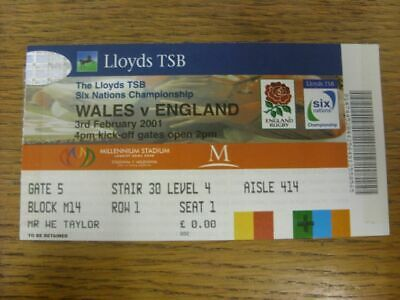 03/02/2001 Rugby Union Ticket: Wales v England [At Millennium Stadium Cardiff] (