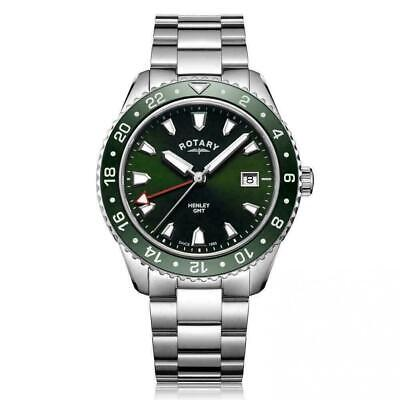Rotary Henley Green GMT Stainless Steel Watch GB05108-24 RRP £265 Now £185.50