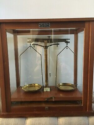 Griffin And George Antique Laboratory Scales With An Oak Frame And Glass Case *