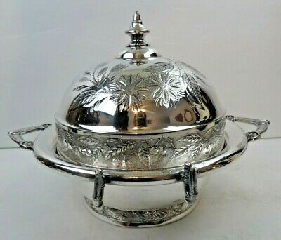 1880s Ornate Victorian Silver Dome Top Covered Butter Cheese Dish Wonderful Cond