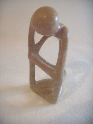 """Collectable Figure """" THE THINKER """" Soapstone Hand Carved Antique Great Desk Item"""