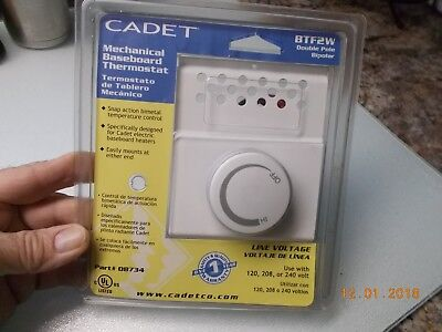 New in Package Cadet Mechanical (snap action bimetal) Baseboard Thermostat BTF2W