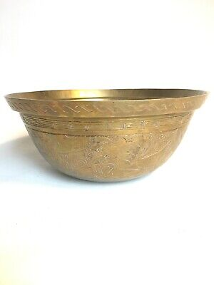 Vintage Chinese Japanese Large Etched Brass Dragon Bowl