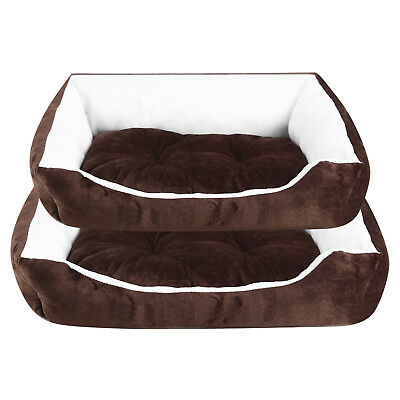 Soft Washable Dog Pet Warm Basket Large Bed Cushion with Fleece Lining Brown