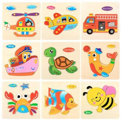 Wooden Cartoon Animal Puzzle Jigsaw Early Learning Baby Kids Educational Toys