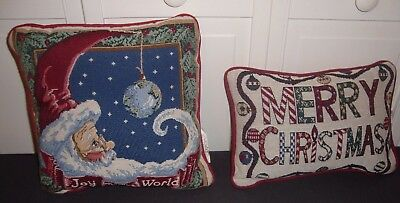 Merry Christmas Joy To The World Santa Tapestry Pillow Pillows Lot of 2 Holiday