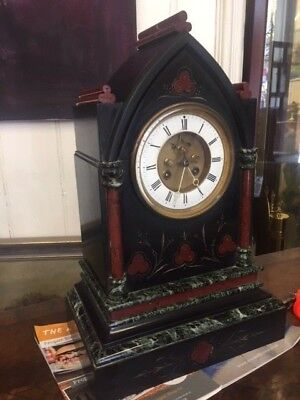 Beautiful Gothic tri coloured Marble Mantle clock with 8 day movement