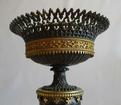 Antique Pair Gothic urns in ormolu, patinated bronze and marble