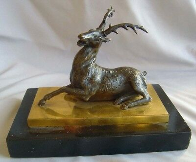 Antique English Regency bronze stag on ormolu & marble base