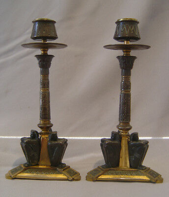 French 19th century Egyptian revival candlesticks in patinated bronze and ormolu