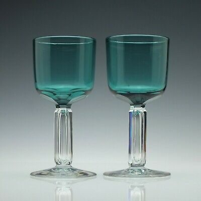 Pair of Antique 19th Century Victorian Hollow Stem Green Wine Glasses c1870