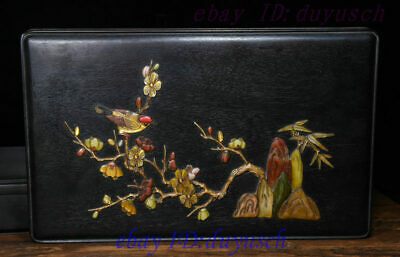 Old Chinese rosewood Inlay ShouShan Stone Jade Flowers Bird casket Jewelry box