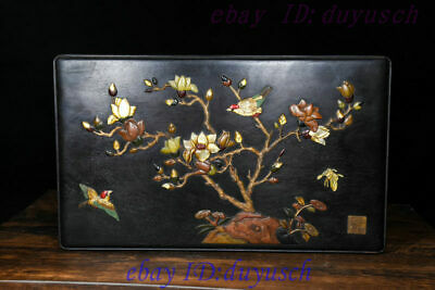 12 Old Chinese rosewood Inlay ShouShan Stone Jade Flower Bird casket Jewelry box