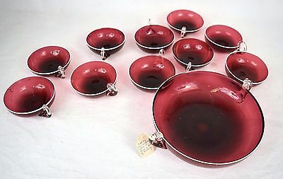 Threaded Cranberry Pressed Glass Handle Serving Dish 8 Dessert 1890s Antique