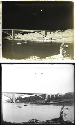 View of High Bridge over Harlem River NYC c1900 - 4x5 Glass Plate Negative