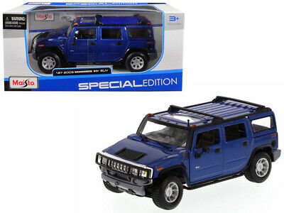 2003 Hummer H2 SUV Blue 1/27 Diecast Model Car by Maisto