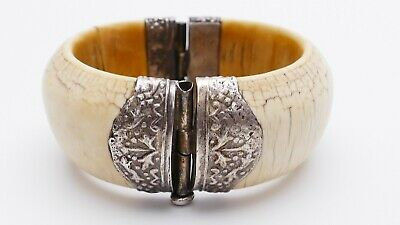 antiker alter Bein Klapp Armreif Silber BERBER Marokko old tribal bone bangle