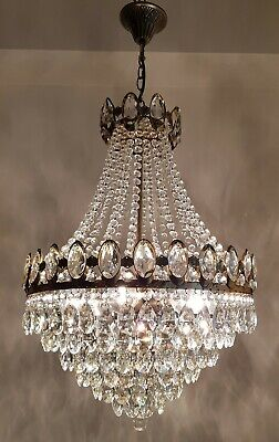 Antique Vintage Brass & Crystals HUGE French Chandelier Lighting Ceiling Lamp