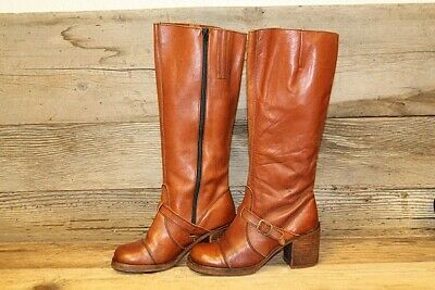 60c3470e107bf ZODIAC VTG 80'S Womens Brown Knee High Leather Stacked Heel Riding ...