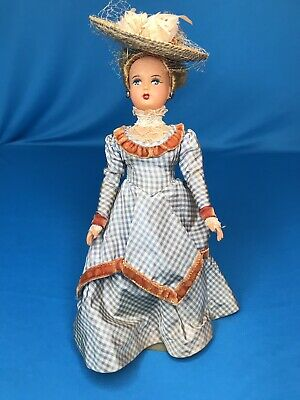 """Wonderful 9"""" Antique Doll Closed Mouth Celluloid Victorian Costume Straw Hat"""