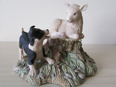 Border Fine Arts Figure of a Dog & Lamb Signed on Base by Ayres 1985 Scotland